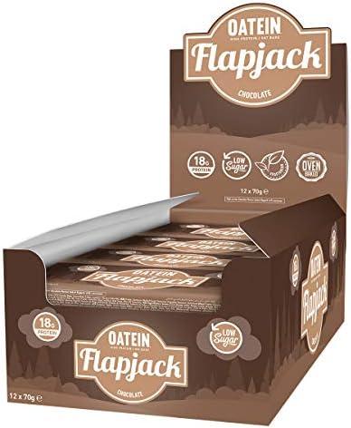 Oatein Niedriger Zucker Protein Flapjack, Schokolade - 12 x 70g