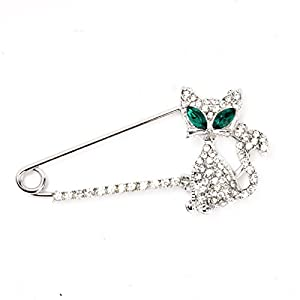 1PC New Arrival Creative Design Silver Gold Plated Animal Brooch Fashion Green Eye Crystal Cat Brooches Brooches for Women