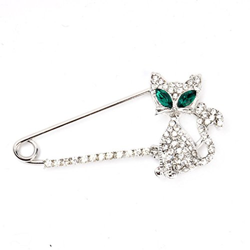 1PC New Arrival Creative Design Silver Gold Plated Animal Brooch Fashion Green Eye Crystal Cat Brooches Brooches for - Eye Frames Chanel