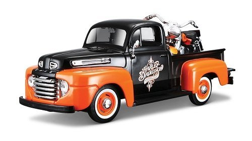 Maisto HD - Ford F-1 Pickup Harley-Davidson / FLH DUO Glide Motorcycle (1948/1958, 1/24 scale diecast model car/1/24 scale diecast model car, Black & Orange) 32180
