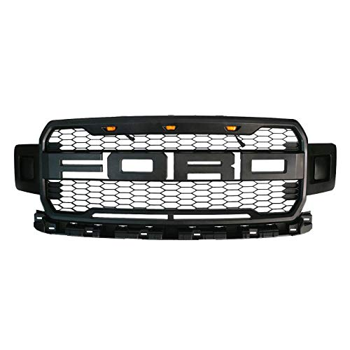 Front Grille Fits 2018 2019 Ford F150 Abs Mattle Raptor Style Honeycomb Grille With Conversion Letter Black