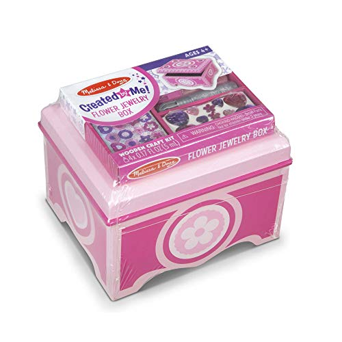 Melissa & Doug Created by Me! Pink Wooden Flower Jewelry Box Craft Kit