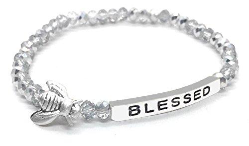 Bumble Bee Blessed Inspirational Quote Bracelet Bead Stacking Stretch Made in USA (Silver) (Stacking Gift)
