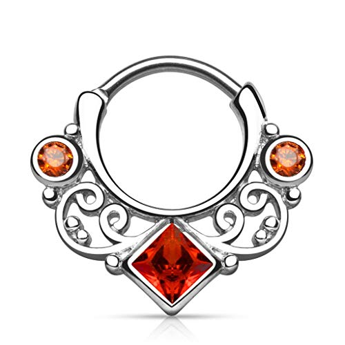 Inspiration Dezigns Lace Swirl and Gems with Square CZ Center Septum Clicker (Red)
