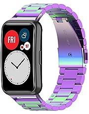 Yikamosi Compatibel met Huawei Watch Fit Bandje,Snelle Release Roestvrij Staal Metaal Adjustable Vervangende Bandje voor Huawei Watch Fit,kleurrijk