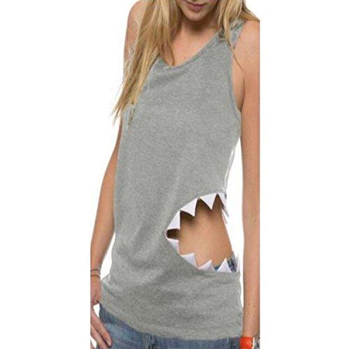 Women's Fashion Shark Vest T Shirt Sleeveless Tank Tops Casual Blouse Tees size Medium (Light Gray)