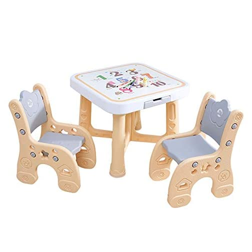 BoeWan Space Saver Highchairs A Good Assistant to Take Care of Children Plastic Children's Table and Chair Set Baby Table Height Adjustable