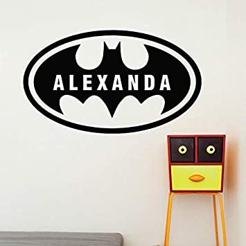 American superhero Bat Nombre personalizado Kids Decal Bat Boys ...