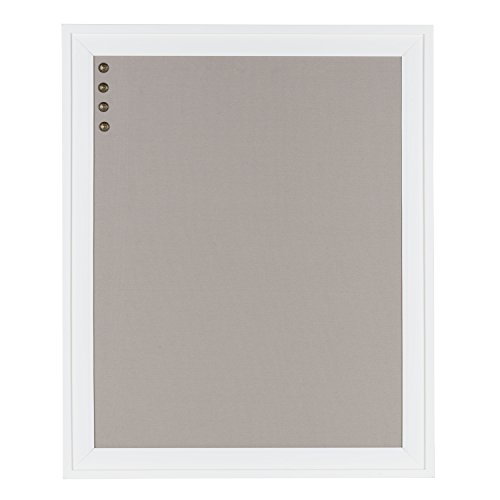 DesignOvation Bosc Framed Gray Linen Fabric Pinboard, 23.5x29.5, - Board Fabric Covered Memo