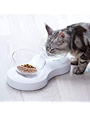 FOREYY Raised Pet Bowls for Cats and Small Dogs - Plastic 20 Degree Tilted Elevated Dog Cat Food and Water Bowls Stand Feeder Dish with Anti Slip Feet for Comfort Feeding (Double Bowls with Stand)