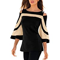 Litetao Women Off Shoulder Tops Long Sleeve Pullover Blouse Patchwork Slim T-Shirt