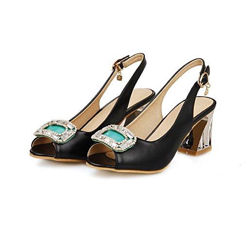 Allhqfashion Womens Buckle High Heels Pu Assorted Color Peep Toe Sandalen Zwart