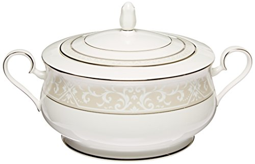 Noritake Montvale Platinum Covered Vegetable Bowl (Platinum Vegetable Round Covered Bowl)