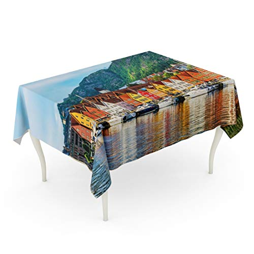 Emvency Rectangle Tablecloth 60 x 102 Inch Architecture Bergen Norway View of Historical Buildings in Bryggen Hanseatic Wharf UNESCO World Heritage Site House Table Cloth