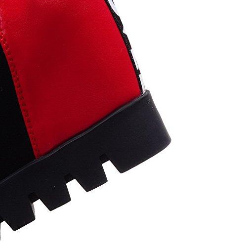 AllhqFashion Mujeres Plataforma Caña Baja Sólido Puntera Redonda Botas Rojo
