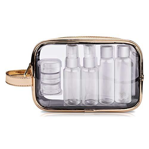 Set da viaggio trasparente portabile in PVC con 7 contenitori, Kit da aereo con bottiglie da viaggio, Contenitori per liquidi, Borsa impermeabile, Set flaconi per cosmetici per donne e uomi