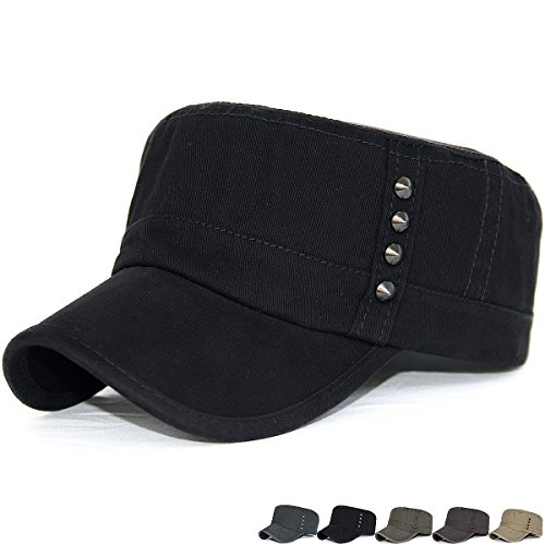 Rayna Fashion Unisex Adult Cadet Caps Military Hats Studs Rivets Low Profile (Studs Military Cap)