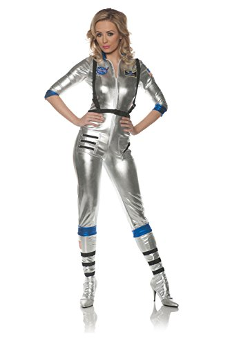 Underwraps Women's Sexy Astronaut Costume-Orbit, Silver, ()