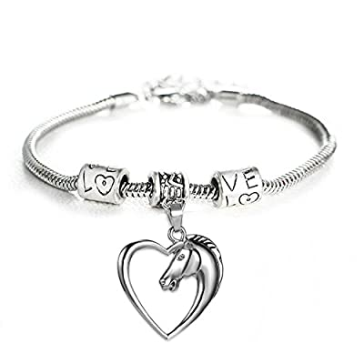 Heart Pendant Bracelet by Luvalti - Horse Heart Jewelry - Family and Friends Jewelry Gift - 10''