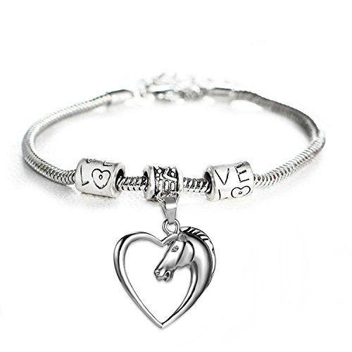 GlobalJewels Heart Horse Bracelet - Best Gift for Mother, Sister, Brother, Friends, Birthdays and Anniversaries by GlobalJewels