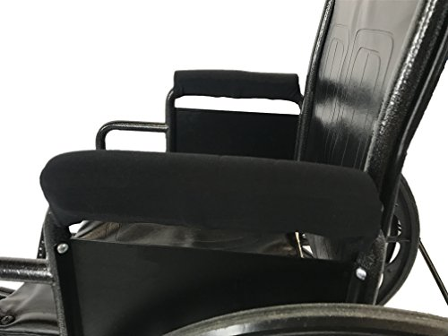Crutcheze Wheelchair Padded Arm Rest Covers - Moisture Wicking & Washable (Black)