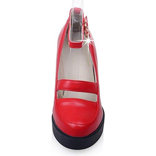 Coolcept Mujer Moda Al Tobillo Court Zapatos Cerrado Tacon Ancho Zapatos Rojo