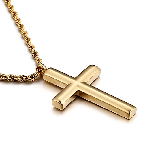 Molike Simple Stainless Steel Cross Pendant Necklace for Men Women, 20''-24'' Twist Rope Chain (Gold Pendant + 20'' Twist Rope Chain)
