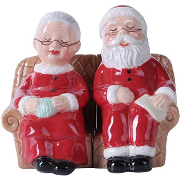 Pacific Giftware 4 75 Inches Mr And Mrs Claus Christmas Magnetic Salt And Pepper Shaker Kitchen Set Home Kitchen