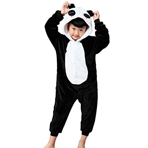 WSLCN Childrens Boys Girls Animal Onesie Unisex Cosplay Flannels Hooded Kids Sleepsuit Party Halloween Sleepwear Nightwear Black Panda Child Height 40-44 inch -