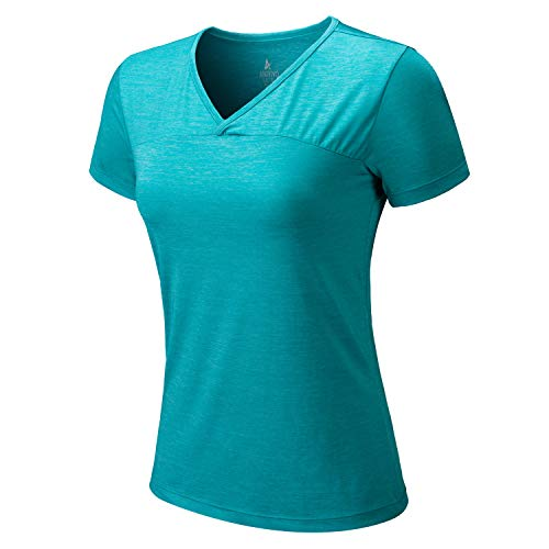ANIVIVO Tennis Shirts for Women Short Sleeves, Women Golf Tank Tees Pullover Active Solid T-Shirts V-Neck Tennis Clothing& Women Running Shirts(Blue,L)