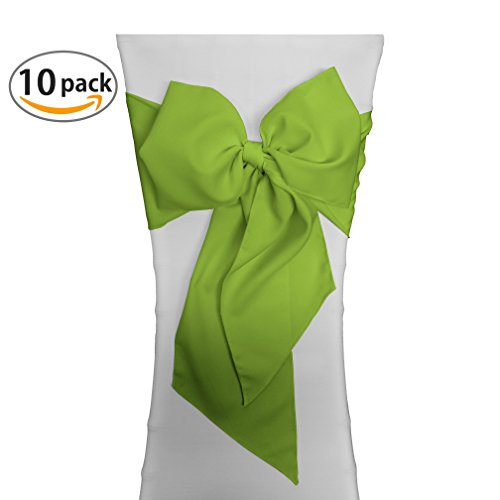 LA Linen Polyester Poplin Chair Bow Sashes, 7 by 108-Inch, Lime, 10-Pack (Lime Green Sash)