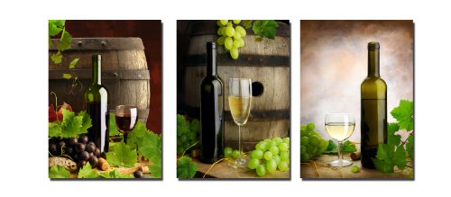 - Wieco Art Large 3 Panels Bottles and Wine Modern Stretched and Framed Giclee Canvas Prints Vintage Pictures Paintings on Canvas Wall Art Ready to Hang for Living Room Kitchen Home Decorations L