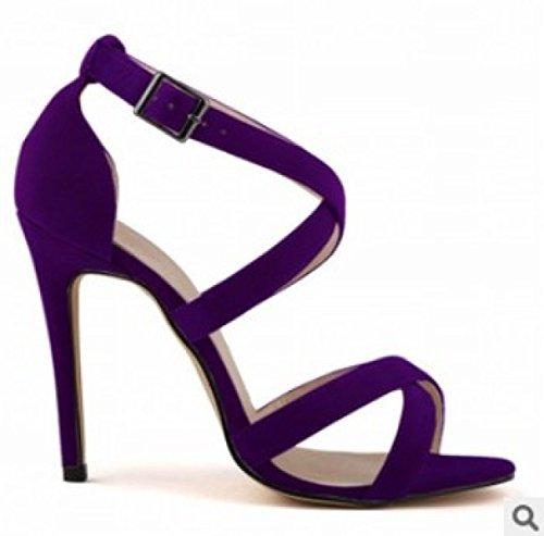 GRRONG Sandalias De La Mujer Sandalias Finas Con Punta Abierta Purple