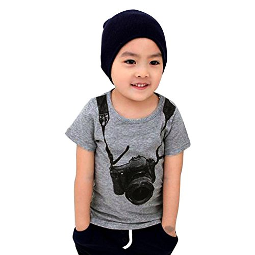 bestpriceam Baby Boy Kids Children Short Sleeve Tops T Shirt Tees Clothes (Gray, 1-2 Year)
