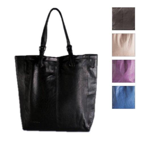 FEYNSINN cartera shopper MELLY - piel genuina negro - bolso de hombro - grande - bolsa de asas (34 x 40 x 9 cm)