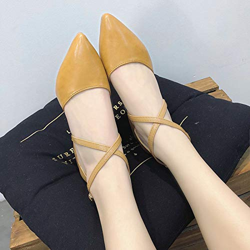 Pump Polyurethane Brown ZHZNVX Heels Shoes Beige Black Heel Pointed Summer PU Basic Beige Toe Low Women's fRnHYnxqT
