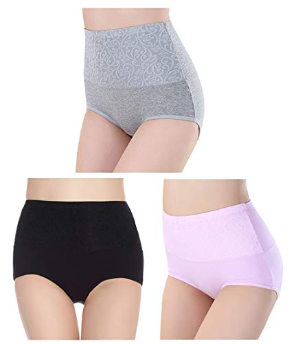 Femaroly Women Cotton High Waist Briefs Panty 3 Pack Funny Soft Underwear Black-Pink-Gray US M=Asian Lable XL