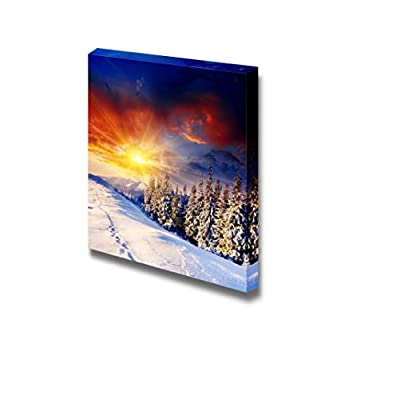 With a Professional Touch, Marvelous Portrait, Beautiful Scenery Landscape Majestic Sunset in The Winter Mountains Wall Decor