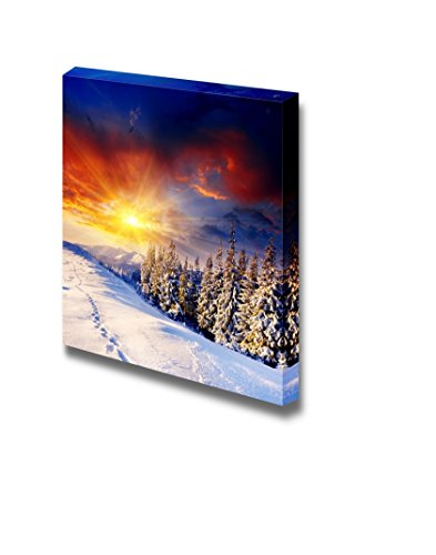 Beautiful Scenery Landscape Majestic Sunset in the Winter Mountains Wall Decor ation