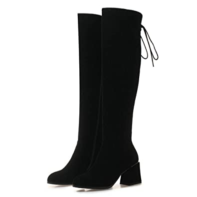 60c09521a67 Amazon.com | Woman Knee High Boots Back Lace Up Round Toe Mid Chunky ...
