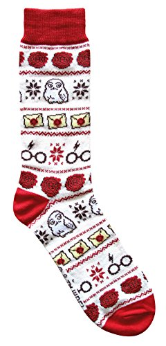 Harry Potter Hedwig Letter Glasses Ugly Sweater Pattern Crew Christmas Socks -