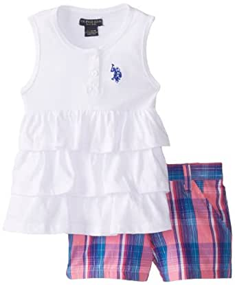 U.S. POLO ASSN. Little Girls' Tiered Ruffle Tank Top with Plaid Short Shorts, White, 6X