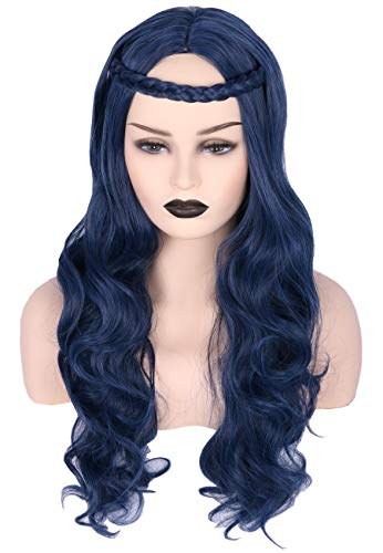 Topcosplay Womens Wig Blue Wave Long with Braid Halloween Costumes Cosplay Wigs