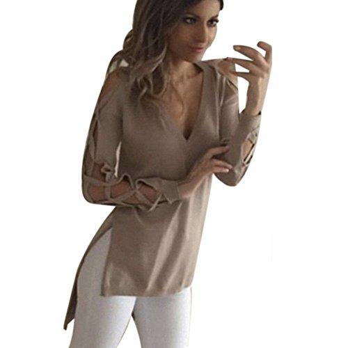 Blackobe Women Sexy Casual Shirts Plus Size Deep V Neck Hollow sleeves Blouse Top (XL, Khaki)