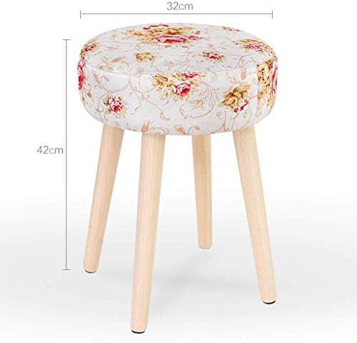 YUMUO Tabouret en Bois Massif Adulte Petit Banc Mode Tissu Canapé Maison Table Basse Housse en Tissu (Taille: 32 * 42 CM)