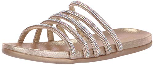Kenneth Cole REACTION Women's Slim Shimmer Flat Strappy Sandal Sandal, Soft Gold, 8 M US