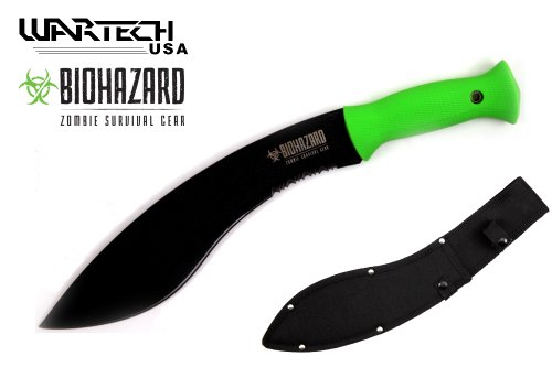 Wartech 15.5″ Overall Kukri Zombie Survival Grear Hunting Knife with Neon Green Handle, Outdoor Stuffs