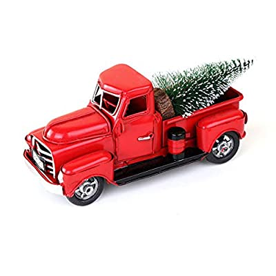 Accrie Vintage Handmade Metal Truck Christmas Ornament Kids Xmas Gifts Toy Table Top Decor Light Blue: Home & Kitchen