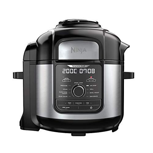 Ninja-Foodi-MAX-Multi-Cooker-Freidora-de-aire-Olla-a-Presion-Acero-Inoxidable-CepilladoRevestimiento-ceramico-de-plastico-Negro-y-Gris