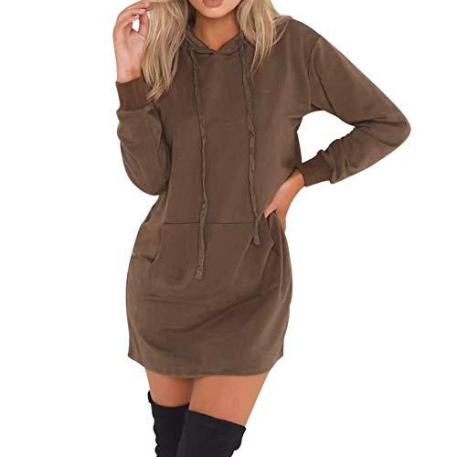 iFOMO Womens Girls Autumn Winter Solid Long Sleeve Hooded Hoodies Ladies Pullover Jumper Sweatshirt(Coffee,M) -
